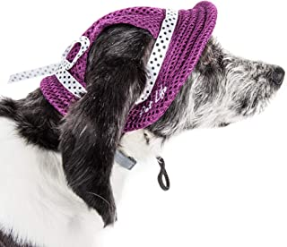 Pet Life ® 'Sea Spot Sun' Uv Protectant Adjustable Fashion Mesh Brimmed Dog Hat Cap, Large, Burgundy