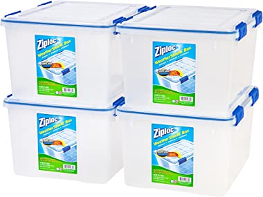 IRIS USA, Inc. WSB-SD Ziploc WeatherShield Storage Box, 44 Quart, Clear