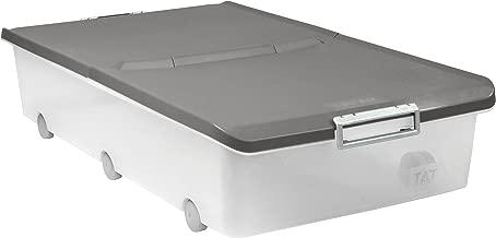 Tatay 1151122 Caja de Almacenamiento Multiusos bajo Cama Ruedas 63 l de Capacidad plástico Polipropileno Libre de bpa Transparente con Tapa, Gris, 45 x 78 x 18 cm