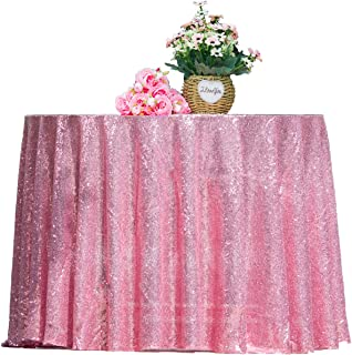 """HMQIANG Rose Pink Sequin Tablecloth Round 70"""" Sparkly Rose Pink Drape Table Cloth Sequin Fabric Table Cover for Wedding Bi..."""