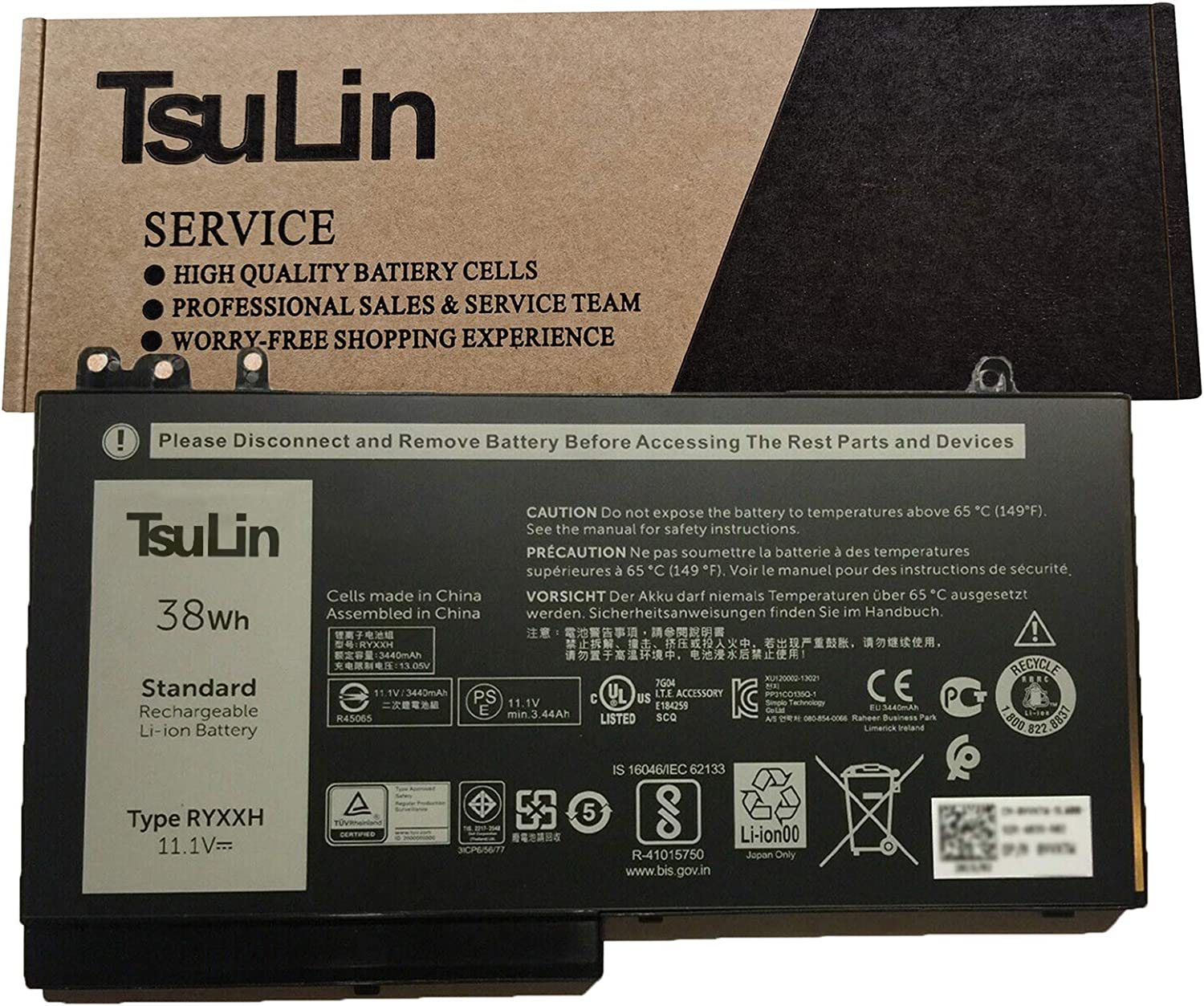 TsuLin RYXXH Max 54% OFF Spring new work Laptop Battery Replacement Dell 5250 5 Latitude for