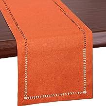 Grelucgo Handmade Hemstitch Orange Thanksgiving Table Runner Or Dresser Scarf, Fall Autumn Decorations(14 x 72 Inch)