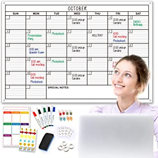 SmartPlanner extra-large monthly dry erase wall calendar set, 24 by 36 inches. Includes a weekly calendar, 5 Markers, 1 Er... photo