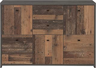 Cómoda Newface con Cinco Puertas y Dos cajones en una Moderna combinación de Colores Old-Wood Vintage Combinado con Aspect...