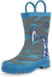 Kids Boys' Shark in The Sea Character Printed Waterproof Easy-On Rubber Rain Boots (Toddler/Little Kids)