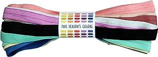 10 Yard Grab Bag of Fold Over Elastic - 1 Yard of 10 Solid Fashionable Colors - 5/8