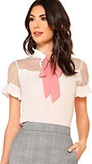 Women's Short Sleeve Tie Neck Mesh Patchwork Chiffon Blouse