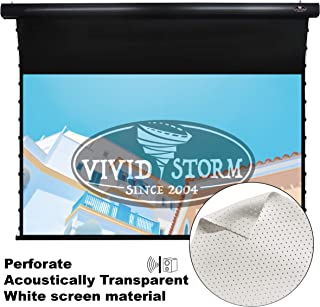 VIVIDSTORM Black housing Perforate Acoustically/Sound/Transparent 4K,Slimline Tensioned Screen, Motorized Drop Down Projector Screen,120-inch Diag 16:9, Perforate White Screen Material,VBMSLPW120H