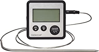 KitchenCraft KC Blue Digital Cooking Thermometer and Kitchen Timer, Stainless Steel, Silver, 8 x 8 x 2 cm