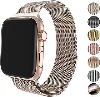 FRESHCLOUD コンパチブル apple watch バンド 38mm 40mm 42mm 44mm アップルウォッチバンド ミラネーゼループ コンパチブルアップルウォッチ ステンレス留め金製 iwatch series5 4 3 2 1に対応 磁石 マグネット 軽量モデル 交換ベルト(38mm/40mm, シャンパンゴールド)