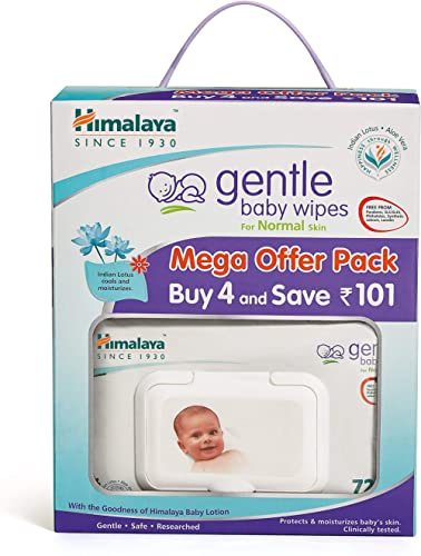 Himalaya Gentle Baby Wipes Mega Offer Pack (4N x 72's) Save Rs.101/-