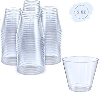 Small Clear Plastic Cups | 5 oz. 100 Pack | Hard Disposable Cups | Plastic Wine Cups | Plastic Cocktail Glasses | Plastic Drinking Cups | Plastic Party Punch Cups | Bulk Wedding Plastic Tumblers