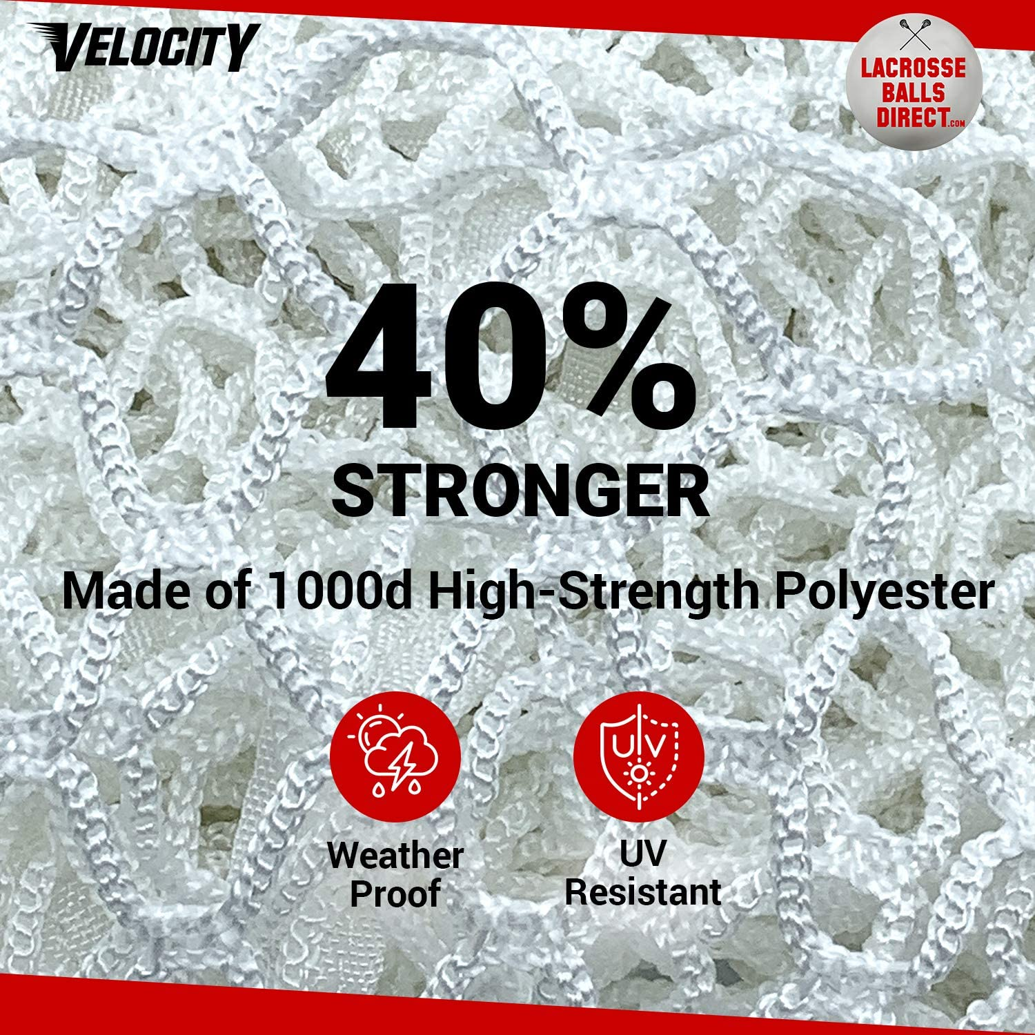 Velocity 7MM Heavy Duty White Lacrosse Net - Fits Regulation Goal - Weatherproof, UV Resistant 1000d High-Strength Polyester - Comes with 100+ Feet of Lacing Cord and 4 Quick Ties. : Sports & Outdoors