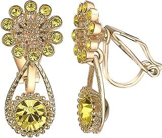 Yoursfs Clip on Dangle Earrrings for Women Austrian Crystals Non Pierced Ears Fashion Earrings (Clip Earrings Dangle)