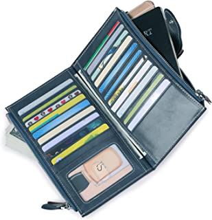 Women's Rfid Leather Wallet Clutch Large Phone Checkbook Holder Multi Card Organizer with Zipper Pocket