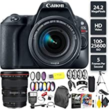 Canon EOS Rebel SL2 DSLR Camera + 18-55mm 1:4-5.6 is STM Lens (Black) + Canon 17-40mm Lens Wide Angle Combo