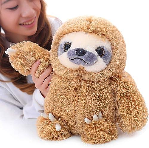 Winsterch Sloth Stuffed Animal Plush Sloth Bear Toys Kids Gift Baby Doll ,Brown Sloth Toy 15.7''