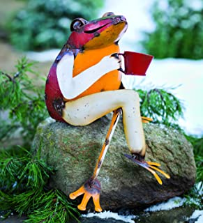 Plow & Hearth 52339 Recycled Metal Coffee Frog Sculpture Yard and Garden Art, 11.5