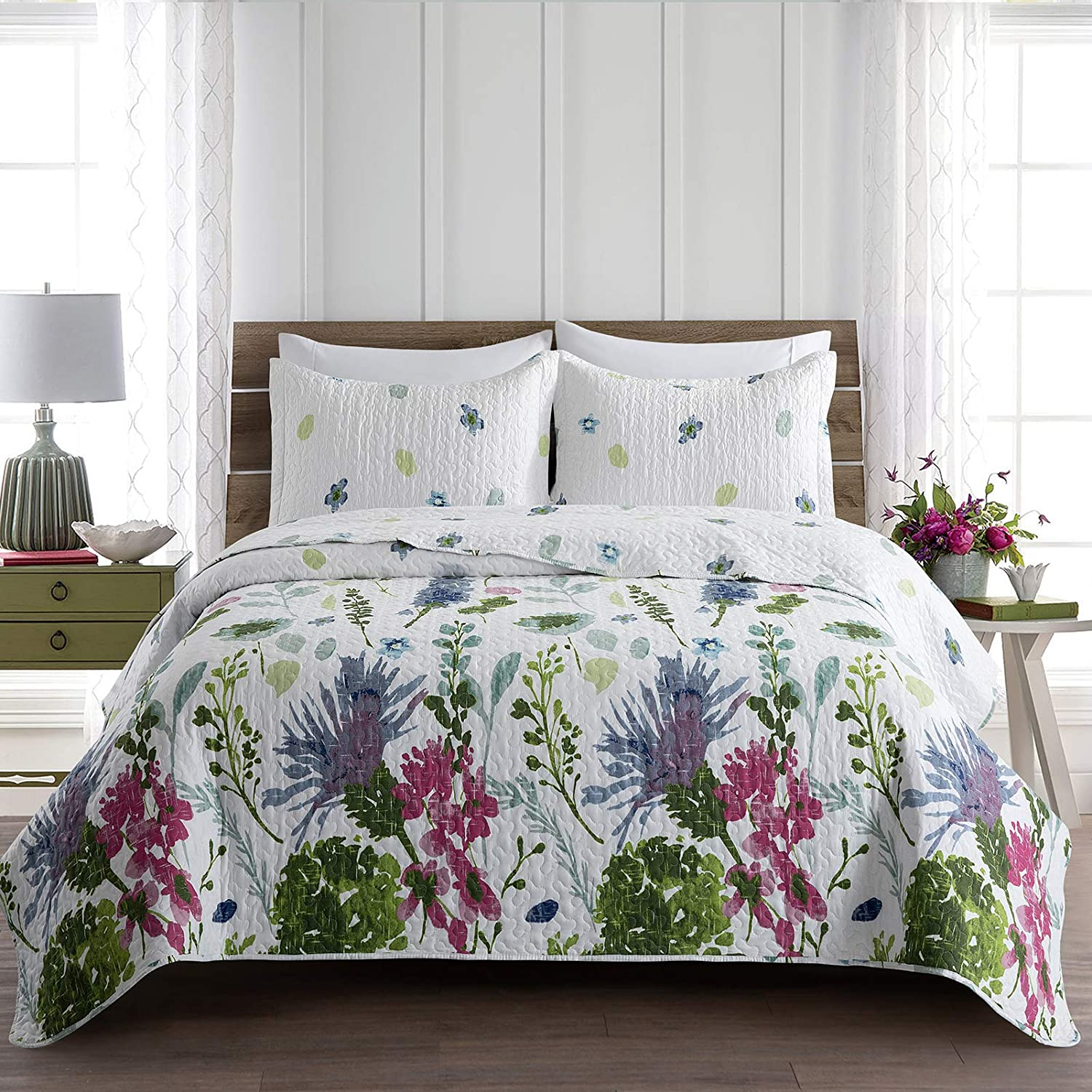 Max 84% OFF Lifeety Bed Quilt Set All High order Season Pattern Size King 1 Blue Floral