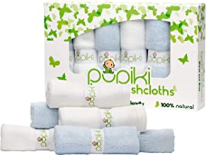 Pupiki Baby Washcloths – Soft Baby Wash Cloths for Face & Body, Gentle on Sensitive Skin – Baby Towels with Bamboo Made fr...