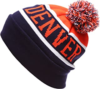USA Favorite City Cuff Winter Knitted Pom Pom Beanie Hat.