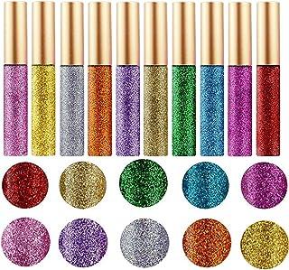 10 Colors Liquid Glitter Eyeliner Metallic Shimmer Glitter Eyeshadow Pigment Eyebrown Shimmer Waterproof Face Lips Art for...