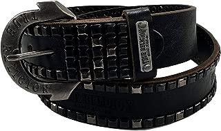 Womens True Religion Jeans Belt Leather Vintage Black Embossed Logo Horseshoe Buckle 28