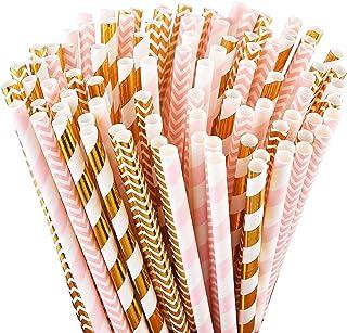 نی های کاغذ تخریب پذیر ALINK ، 100 نی صورتی / نی طلایی برای وسایل مهمانی ، جشن تولد ، عروسی ، تزیینات عروس / کودک و جشن های تعطیل