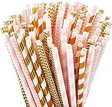 ALINK Biodegradable Paper Straws, 100 Pink Straws/Gold Straws for Party Supplies, Birthday, Wedding, Bridal/Baby Shower De...