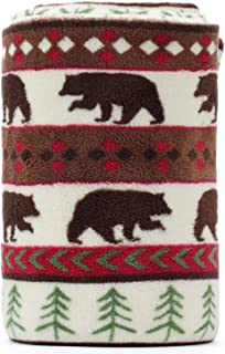 KEMUSI Blanket Throw Brown Bear and Pine Trees Pattern White Background Soft Lightweight Coral Fleece 230GSM for Baby 50 X 60