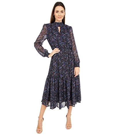 WAYF Alston Tiered Smocked Waist Midi Dress (Ultra Violet Paisley) Women
