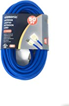 Viasonic Premium Outdoor Extension Cord UL listed - Super Heavy Duty & Durable - 12 Gauge - .15AMP-125V-1875W - Industrial Blue Cord, Premium Lighted Plug, by Unity (50 Ft)