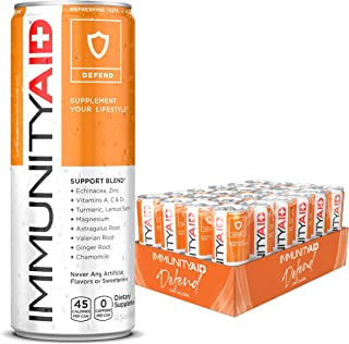 LIFEAID Immunityaid Support Blend  Echinacea, Zinc, Astragalus & Vitamin C No Artificial Flavors or Sweeteners Contains 100% Clean, Vegan & Gluten-free No Caffeine 12-oz. Can (24 Value Pack)