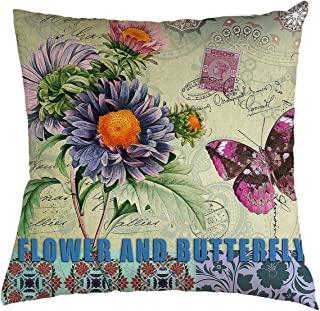 BZSNHOME Daisy Throw Pillow Cover Retro Stamp Purple Daisy and Butterfly Background for Couch Sofa Bed Car Seats Home Decorative Throw Pillow Case 22