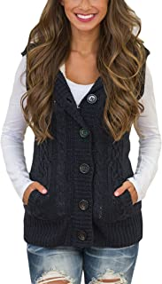 Womens Long Sleeve Hoodie Cable Knit Cardigans Button Down Sweater Coats