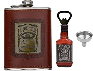 Store2508® Hip Flask With Funnel & Whiskey Bottle Shaped Bottle Opener. Stainless Steel With PU Leather Cladding 8 Oz (236 ml).