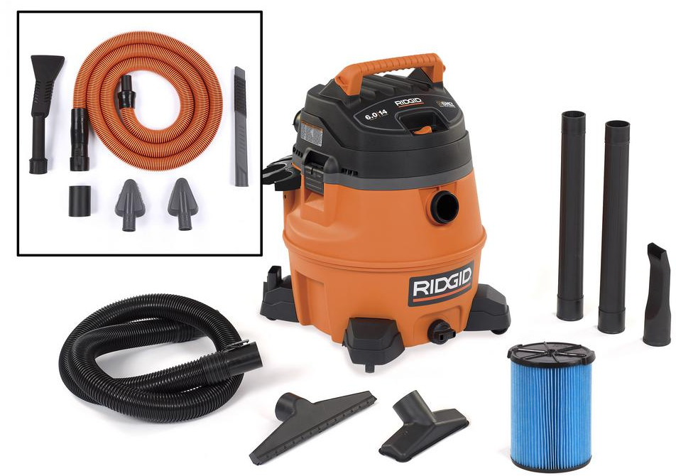 RIDGID 14 gal. 6.0-Peak HP Wet Dry Vac with Auto Detail Kit-WD1451 - The Home Depot