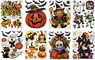 Gift Boutique Halloween Window Clings Decorations Decals 8 Pack Tombstone Haunted House Pumpkin Ghost Bats Skulls Cat Witch Owl Trick or Treat Kids Party Accessories