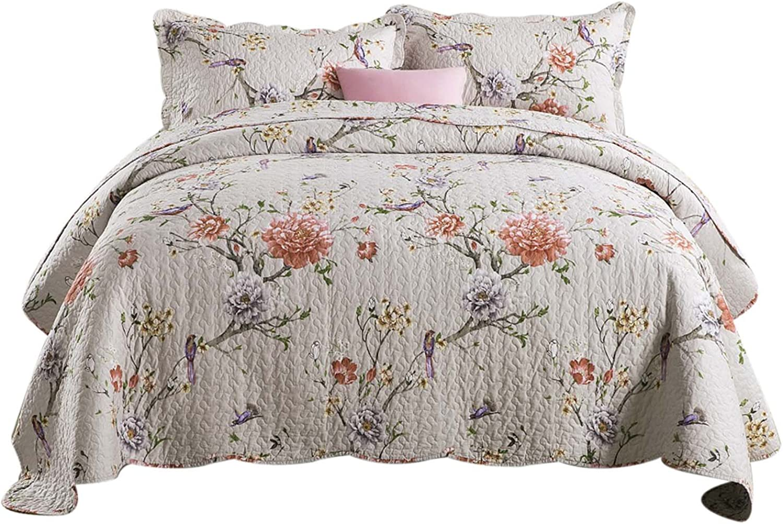 Artextile Fresh Flower Design Reversible Pastoral Patchwork Coverlet Bedspread 3-Pieces Quilt Set ,Queen Size (Queen, Flower and Bird World)