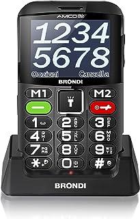 Brondi Amico Chic, Telefono cellulare GSM per anziani con tasti grandi, tasto SOS e funzione da remoto, dual SIM, volume a...
