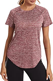 Wayleb Camiseta Deportivo Mujer Camiseta de Manga Corta Camiseta Holgada de Secado Rápido Camisetas de Malla Mujer Yoga Fi...
