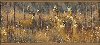 York Wallcoverings Lake Forest Lodge White Tail Deer Border, Browns