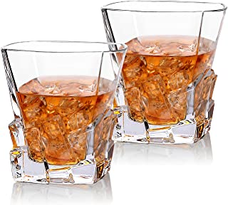 Cooko Copas de Whisky Iceberg, Jarra de Cristal para Whisky, Accesorios de Vino para Whisky, cóctel, Bourbon, Zumo, 300 ml, Juego de 2 (10.6 oz)