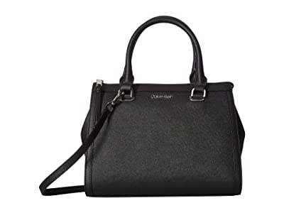 Calvin Klein Mercy Saffiano Leather Satchel (Black/Silver) Handbags
