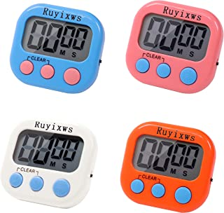 Ruyixws 4 Pack  Digital Timer with Large LCD Display, Loud Alarm, Magnetic Back , Timer for Teachers Students Kids Cooking , On/Off Switch, Battery Included (4 Colors)