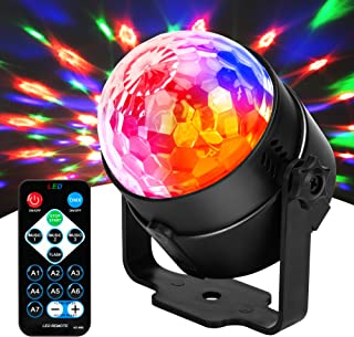 JYX Sound Activated Dicso Light, USB DJ Light, Disco Ball, Strobe Lamp 7 Modes Stage Par Light for Home Room Dance Parties...