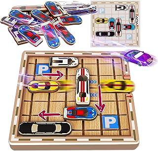 Puzzle Board Games Wooden Traffic Jam for Kids Teen, Educational Stem Toys Logic Brain Teaser Game Rush Hour Travel, Autis...