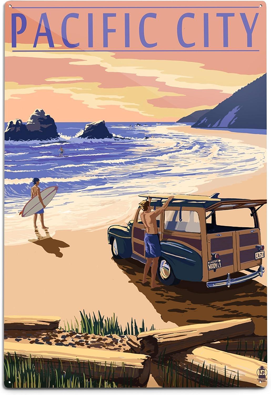 Lantern Press Pacific City Oregon 12x18 New Direct store product type Beach Woody on Alumin
