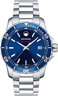 Movado Mens Series 800 Sport Stainless Watch with a Printed Index Dial, Silver/Blue