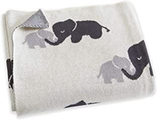 """Great Bay Home 100% Natural Cotton Knit Baby Blanket for Girl or Boy, Swaddle, Crib, Toddler Bed or Stroller. Ultra-Soft, Warm and Cozy Blanket. Andi Mae (Elephant Print, 32"""" x 40"""")"""
